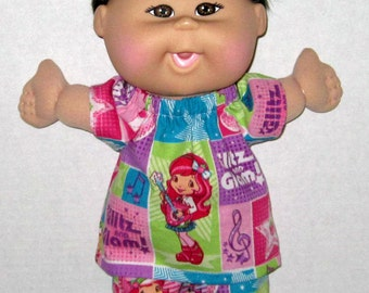 Cabbage Patch Naptime Babyland  Doll Clothes Sweet Strawberry ShortCake Print  Set  12 13  inch Doll Clothes  Fun to Feed