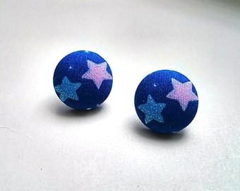 Sparkly Stars on Dark Blue Fabric Button Ear Studs