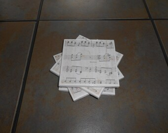 Musical Note Coasters - Set of Four - for Music Teacher, Musician