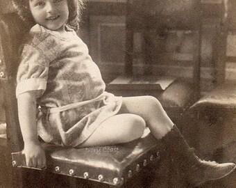 Little girl on chair in sepia vintage photo postcard ephemera.  Digital Download.