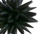Black Glittered Paper Star Decoration, Handmade Halloween Ornament, Gothic, Sparkly, Spiky, Dark Romance - Charcoal Sparkler, 4 inch