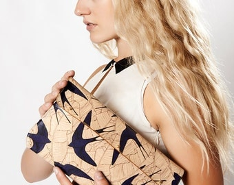 Leather Clutch, leather Shoulder Bag, Leather bag  - Swallows and leaf