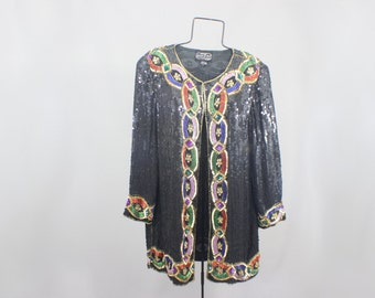 Sequin Blazer Vintage Royal Beaded Evening Wear Jacket Women's Dress Coat