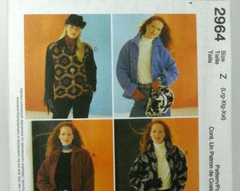 McCalls Misses Unlined Jacket Pattern 2964 UNCUT Size large,X large,XXLarge