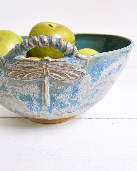 serving bowl Dragonfly Bowl Art Deco Arts and Crafts style art vessel