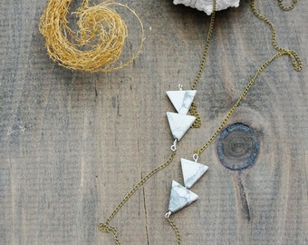 "Stalactite Necklace - ""tranquility stone"" White Howlite Arrow Long Geometric Necklace - by Simka Sol"