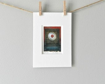 Stocking Stuffer Miniature Art Oddity, Red & Grey Asian Art, Carved Jade Fine Art Print, Asian Decor,Unusual Art Jade Bi,Chinese Photography