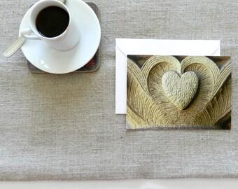 Valentine Card, Gold Heart Wedding Card, Blank Card & Envelope, Heart Anniversary Card,Stanford Notecard,Heart Greeting Card,Heart Note Card