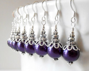 Dark Purple Pearl Dangle Earrings, Lapis Bridesmaid Jewelry, Beaded Wedding Sets, Bridesmaid Gifts, Silver