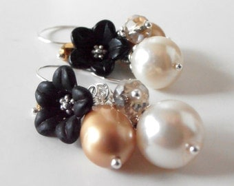 Beaded Earrings Black Gold Ivory Bead Cluster Dangles Pearl and Flower Earrings Holiday Fashion Gifts for Her Under 20 Handmade Jewelry