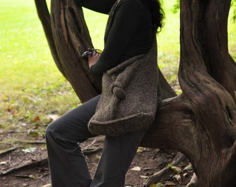 Knit Knot Bag in brown - designer hand knitted UNISEX shoulder bag tote crossbody messenger bag school bag - eco-fashion CHOOSE your COLOR