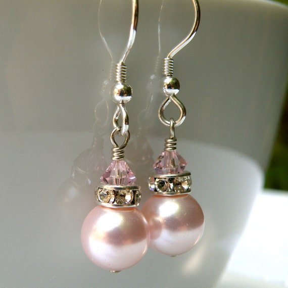 Pink Pearl Earrings, Blush Petal Rose, Short Drop, Sterling Silver, Bridesmaid Wedding Handmade Jewelry, Bridal Party Gift, Spring Fashion
