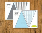 INSTANT UPLOAD  Banner Blue and Gray Chevron Baby Shower or Birthday Pennants (Print Your Own)