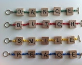 Scrabble Tile and Telephone Cable Bracelets