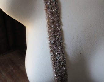 """SALE Beaded Trim 12""""  in Mocha Champagne 1"""" width for Headbands, Bridal, Crafting"""