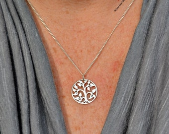Medium Sterling Silver Tree Of Life Necklace - Family, Woodlands, Unity, Love, Togetherness, Ancestry, New Mom