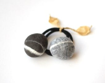 Felted pebble hair-rubber band for your Ponytail - set of two
