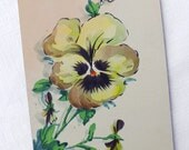 Antique Original Watercolor Painting Pansy Card Handpainted Flower Art Greetings Collectible Postcard Shabby Chic Home Decor