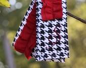 Monogrammed Ruffled Camera Strap Cover - Black Houndstooth/ Crimson