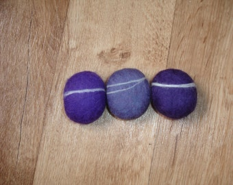 Felt pebble ornament, 3 handmade purple, mauve beach stones, home decor
