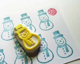snow man hand carved rubber stamp. christmas pattern stamp. christmas winter holiday craft projects. gift wrapping. created by talktothesun