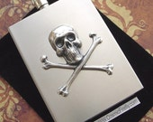 Silver Skull Flask Steampunk Flask Pirate Flask Skull and Crossbones Pocket Flask Hip Flask Travel Flask Square Edge Industrial Design