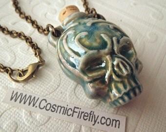 Black Friday Sale Halloween Skull Necklace Rustic Blue Raku Ceramic Bottle Brass Rolo Chain Boy's Necklace Men's Steampunk Necklace