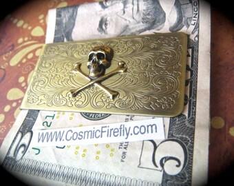 Brass Skull Money Clip Steampunk Money Clip Gothic Victorian Vintage Inspired Antiqued Brass Men's Accessories Men's Gifts Pirate Money Clip