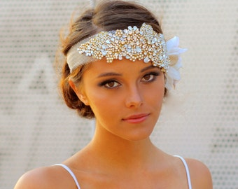 The Original Crystal Bridal Hair Bandeau- Carey