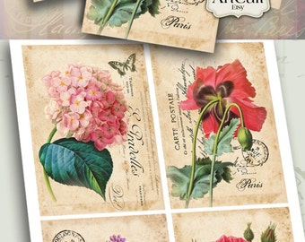 4 Printable Images GORGEOUS FLOWERS Digital Collage Sheet Vintage ephemera print-it-yourself Greeting Cards Art Cult decoupage Downloads