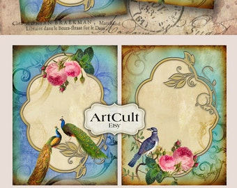 Printable VICTORIAN VIGNETTES No.3 Digital Collage Sheet Greeting Cards print-it-yourself Vintage Paper Craft Jewelry backgrounds ArtCult