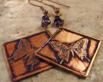 Etched Copper Earrings Butterflies with Amethyst Chips