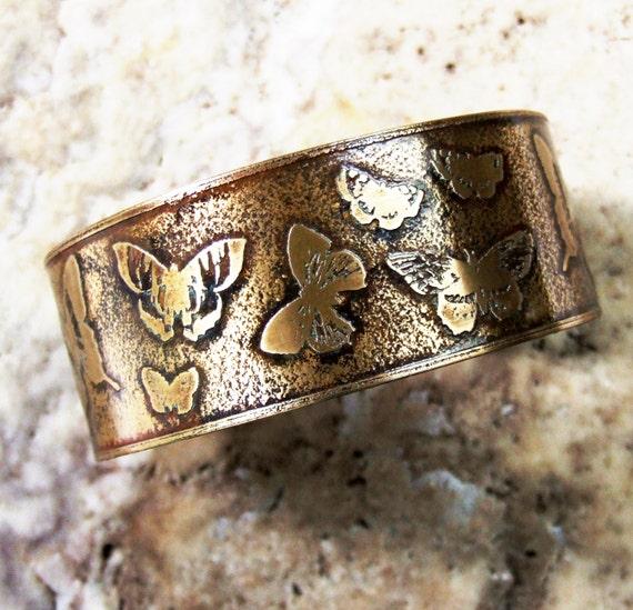 Etched Brass Cuff Butterfly Bracelet