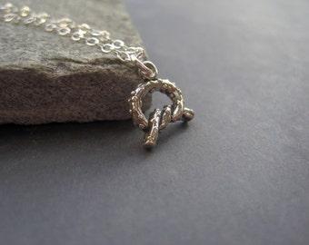 Pretzel Necklace  - Sterling Silver Pretzel Necklace - Tiny Sterling Silver Necklace - Pretzel Lover Gift