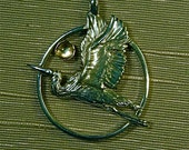 Sterling Silver or  in 14kt  Gold  The Great Blue Heron with Golden Jelly Opal or Moonstone Pendant