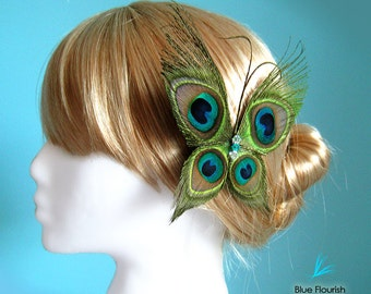 Wedding hair accessories butterfly wedding butterfly hair clip peacock wedding head piece bride wedding bridal hair clip butterflies garden