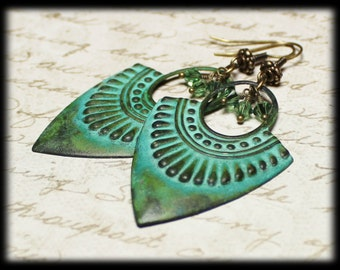 Versailles...Handmade Jewelry Earrings Beaded Patina Metal Crystal Olive Verdigris Green Antique Brass Long  Dangle Lightweight Art Deco