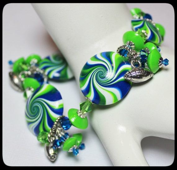 seahawks jewelry seattle seahawks handmade jewelry bracelet beaded cha cha 5132