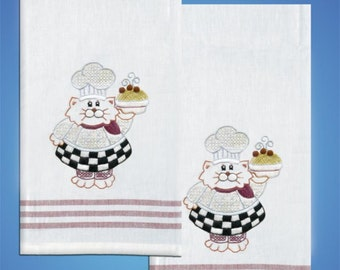 Tobin Home Crafts - Cat Chef T212939 Kitchen Towels Stamped for Embroidery