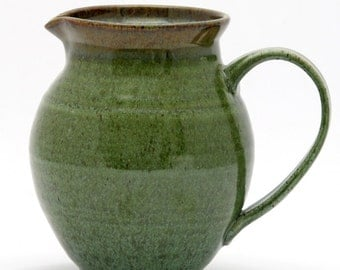 Green Round Pitcher - Forest Gold Glaze Combination
