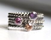 Stacking Rings - Mothers Rings - Set of 5,  Birthstone Jewelry, Made To Order