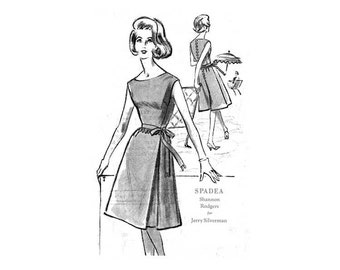 60s Dress Pattern Spadea N1217, Fitted Bodice, Sleeveless, Flare Skirt & Tie Belt, Shannon Rodgers, Bust 34 Uncut FF Vintage Womens Sewing