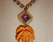Bakalite Flower Necklace carved Vintage pendant Jewelry brass rolo Art Nouveau purple glass Deco Antique gift Reclaimed materials