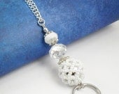 Crystal Glass and White Fancy Beaded Glass Leather Cord OR Chain ID Lanyard, Badge Holder, Key Chain Necklace