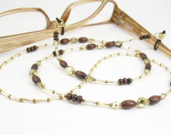 Eyeglass Leash, Eyeglass Holder - Dark Brown Wood, Bronze and Gold Eyeglass Lanyard