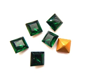 Vintage Square Glass Jewels x 4