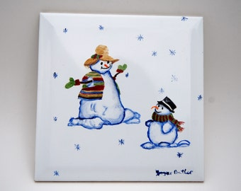 Ceramic Tile, Hand Painted Snow People, Whimsical  Parent and Child Snowman, Trivet Tile,  Wall Hanging, Home Decor, Winter Design