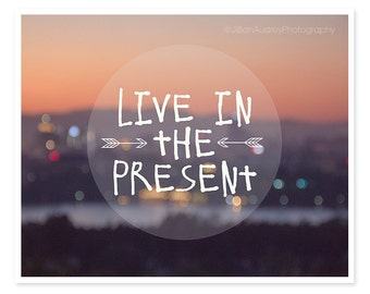 Live in the Present Typography Print, Abstract Photography, Inspirational Quote Thoreau, Dorm Decor, Grad Gift, Purple Sunset, Quote art