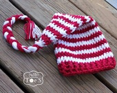 Crochet Baby Christmas Hat, Christmas Baby Photo Prop, Red White Striped Baby Hat, Christmas Baby Hat, Winter Baby Hat, 3 - 6 months - puddintoes