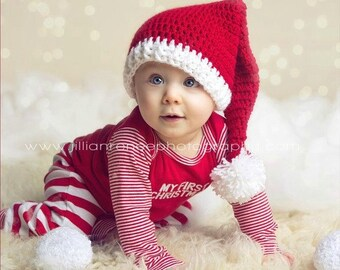 Crochet Baby Santa Hat Ready to Ship Baby Christmas Hat, Size 6-12 Months Santa Baby Hat, Christmas Baby Elf Hat, Christmas Photo Props